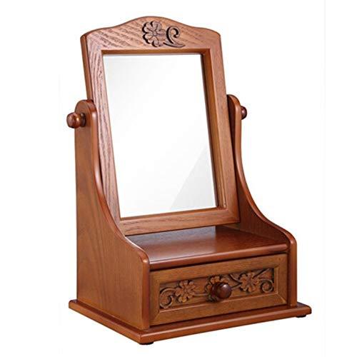 ZXX Schmuck aufbewahrungsbox, Holz schmuckschatulle, mit Spiegel Kosmetikkoffer, frei drehbare arbeitsplatte Kosmetikkoffer für mädchen Frauen Schlafzimmer möbel