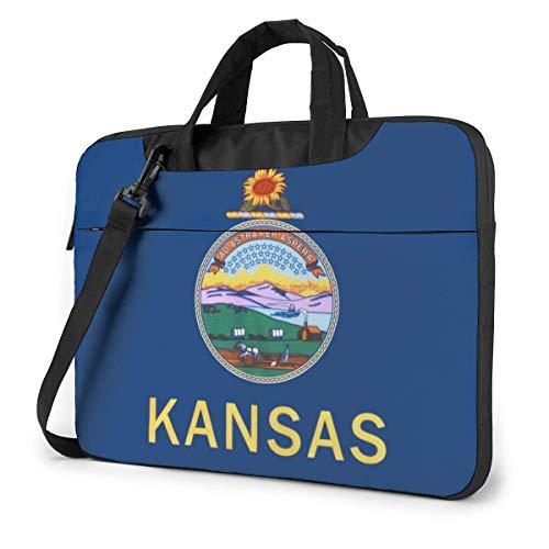 Kansas KS State Flag - Bolso Bandolera para computadora portátil, Estuche de Transporte con Funda para computadora portátil de 15.6 Pulgadas
