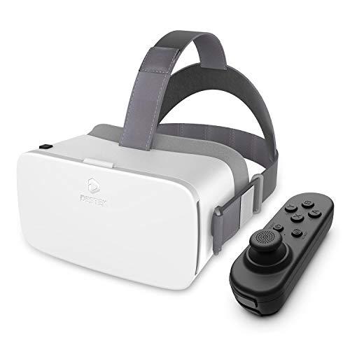DESTEK Virtual Reality Headset V5 VR Brille, Anti-Blaulicht Augenschutz HD Virtual Reality Headset für iPhone 12/11/X/Xs, für Samsung S20/S10/Note 10/9/Plus