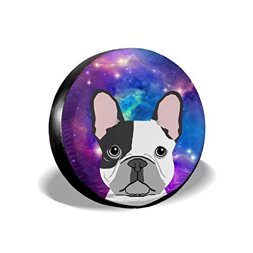WH-CLA Wheel Cover Galaxy Space Star French Bulldog Universal Impermeable A Prueba De Polvo 4 Tamaños Cubierta para Llantas De Ruedas Protectores De Ruedas Cubierta para Llantas De Repue 15in/70~75cm