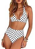 Yutdeng Mujer Traje de Baño Brasileño de Dos Piezas Conjunto De Bikini Tiras V Cuello Halter Traje de Baño de Estampado Floral de Cintura Alta para el Verano 2021
