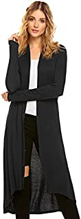 POGTMM Women's Long Open Front Drape Lightweight Duster High Low Hem Maxi Long Sleeve Cardigan with Pocket(S-3XL)