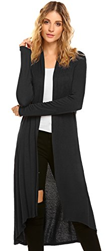 POGTMM Women's Long Open Front Drape High Low Hem Black Long Sleeve Duster Cardigan (US L(12-14), Black)