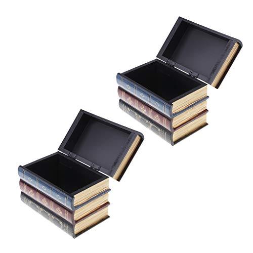 freneci Paquete de 2 Accesorios de Decoración de Caja de Almacenamiento de Joyero de Madera con Forma de Libro Antiguo