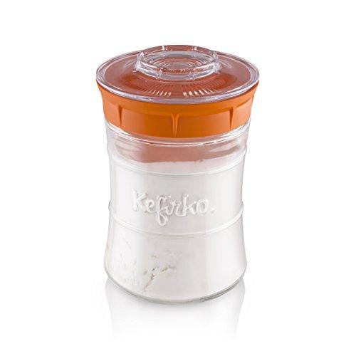 Kefirko | Kefir Fermenter Starter Kit, Machen Sie einfach Milch und Wasser Kefir zu Hause 848 ml (Orange)
