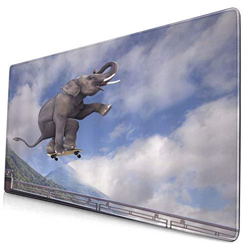 LASINSU Alfombrilla Gaming,Elefante Deporte Animal Divertido Elefante Africano juguetón con Scooter Volando al Cielo,con Base de Goma Antideslizante,750×400×3mm