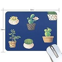 マウスパッド かわいい サボテン 紺色 花 植物 背景 高級 ノート パソコン マウス パッド 柔らかい ゲーミング よく 滑る 便利 静音 携帯 手首 楽
