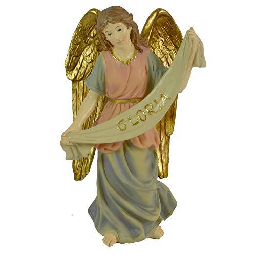 Milo srl Angelo PRESEPE Natale Pupazzo Statuetta H 15 CM Punta Pelliccia Bianco Decorazione Natalizia