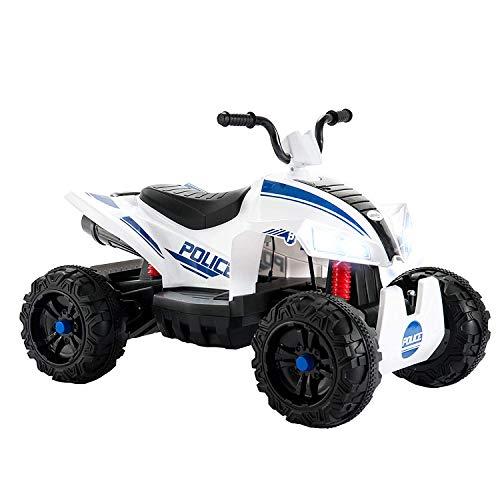 Uenjoy Kinderauto ATV Elektro 12V ATV für Kinder Fahrt auf Auto w / 2 Geschwindigkeit, Federung, LED-Leuchten, Eingebautes Horn, Getretene Reifen, Motortöne für Kinder, Weiß