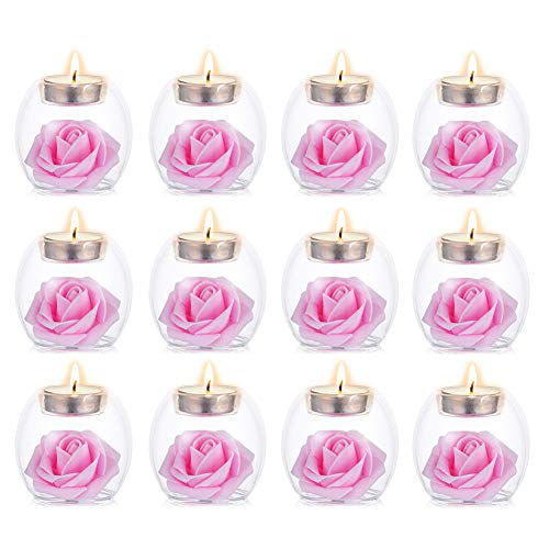 Sziqiqi Clear Glass Tea Light Candle Holders, 2 Kinds of Usage Votive Candle Holder, for Wedding, Party, Spa, Aromatherapy, Meditation, 12 Pcs