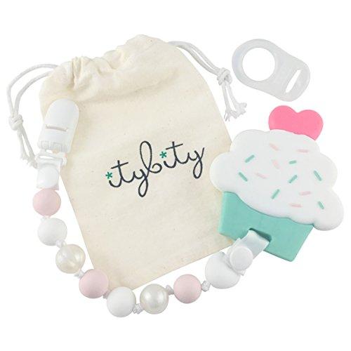 Itybity Juguetes de magdalena para la dentición con clip de chupete para bebé Rosa