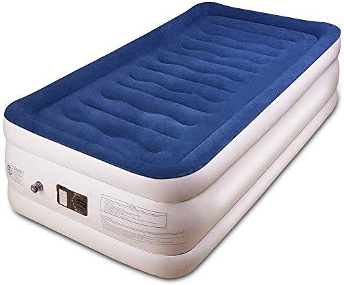 XRRRO Bfull aufblasbares Bett Luftkissenbett, Luftverlust, tragbares aufblasbares Bett mit eingebauter elektrischer Pumpe, langlebiges 190 x 95 x 43 cm doppeltes aufblasbares Doppelbett (blau)