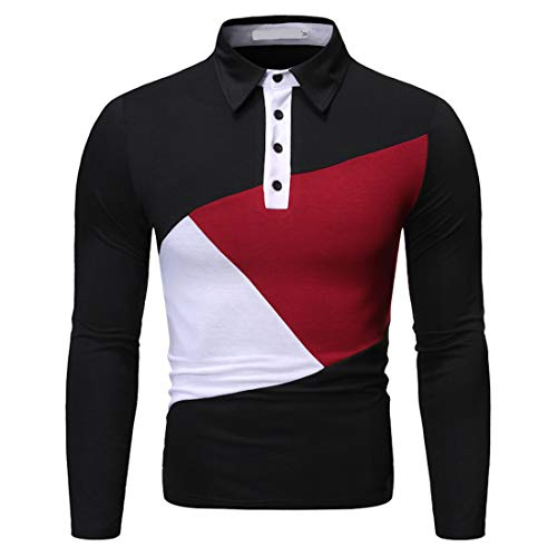 YUPENG T-Shirt Men Polo Shirt Men Blouse Stylish Casual Long Sleeve Irregular Patchwork Henry Collar Tops Outerwear Autumn Winter Long Sleeve Polo Shirt 3XL