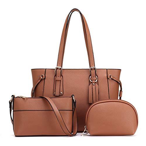 JOSEKO Handtasche Frau Umhängetasche Damen Shopper Schultertasche Elegante Tasche Mode PU 3-teilige Umhängetasche Schwarz und Braun