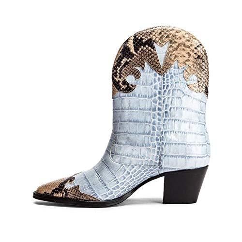Womens Leather Western Boot Puntschoen Lage Hak Enkellaarsjes Geschikte Herfst Winter Mode Laarsjes,Blue,41 EU