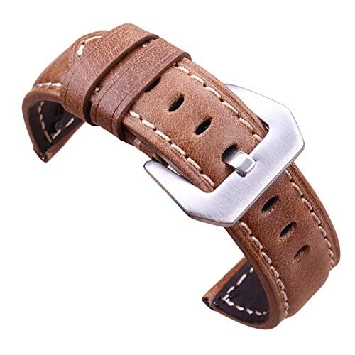 TRSX Cinta de Reloj de Cuero de la Correa de Reloj 20 mm 22 mm 24 mm marrón Oscuro de la Vendimia de la Correa de la Vendimia con la Hebilla de Acero Inoxidable Negra de Plata