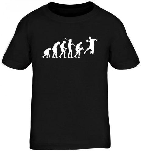 Shirtstreet24, EVOLUTION HANDBALL, WM EM Sport Kinder Fun T-Shirt, Größe: 152/164,schwarz