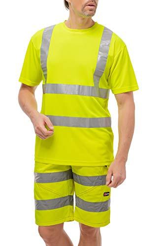 Mivaro Camiseta Manga Corta Alta Visibilidad Reflectante EN ISO 20471 Clase 2, Größe Textil:M, Farbe:Amarillo fosforito