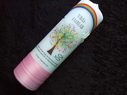 Taufkerze Lebensbaum mit Regenbogen 25x7cm – Taufkerzen Sonderanfertigung nach Kundenwunsch (Name/Datum/Taufspruch) Mädchen rosa