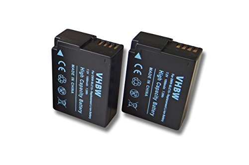 vhbw 2X Li-Ion Akku 1000mAh (7.2V) für Kamera Camcorder Video Panasonic Lumix DMC-FZ1000, DMC-G70 wie DMW-BLC-12, DMW-BLC12, DMW-BLC12E.