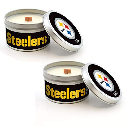 Worthy Promo NFL Scented Candle 2-Pack Travel Tin Soy Wax, Wood Wick, Pittsburgh Steelers (Citrus)