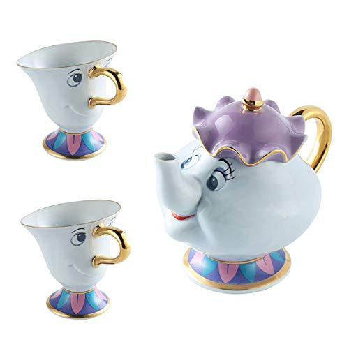 anshoujijing Set da tè La Bella E La Bestia, Teiera in Ceramica Placcata in Oro Mrs Potts Tazza da tè con Chip Zuccheriera Tazza da caffè per Regali di Natale 1*teiera+2*Tazze da tè