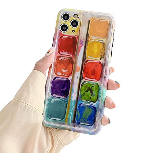 FOURTOC Scatola di Pittura Ad Acquerello Astratta Progettata per iPhone 12/12 PRO / 12 PRO Max Slim Fit Custodia Protettiva in Gel Morbido TPU Antiurto Flessibile,Multi Colored,12 PRO