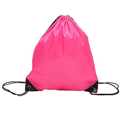 Sechunk 5 Pieces Drawstring Bag 210D polyester rope bag pulling nylon Oxford pocket Sack Cinch Tote Gym Storage Backpack (pink, 5 pcs)