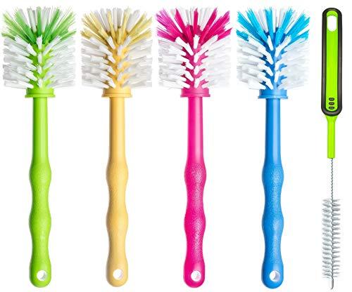 Reinigungsbürste 5er Set – Spülbürste für Mixbehälter und Messer - Ideales Zubehör zum Reinigen von Küchenmaschinen (1x Grün/ 1x Gelb /1x Pink/ 1x Blau/ 1x Grün)