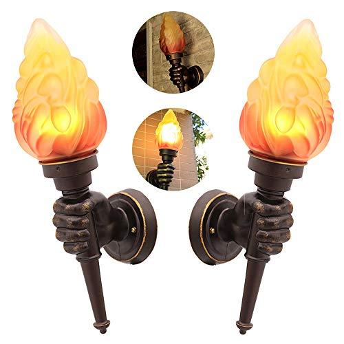 Anclk Retro Wandleuchte LED Wandfackeln Rustikal Dekorative Flurlampe Vintage Wandlampe Kreative Fackel Beleuchtung Wohnzimmer Lampe Glas Lampenschirm Kinderzimmer Wandlicht Landhausstil,2