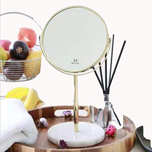 GenericBrands Makeup Mirror Free Standing Two-sided Swivel Magnification Round Table Marble Base Dressing Table Lighted For Bathroom Dresser