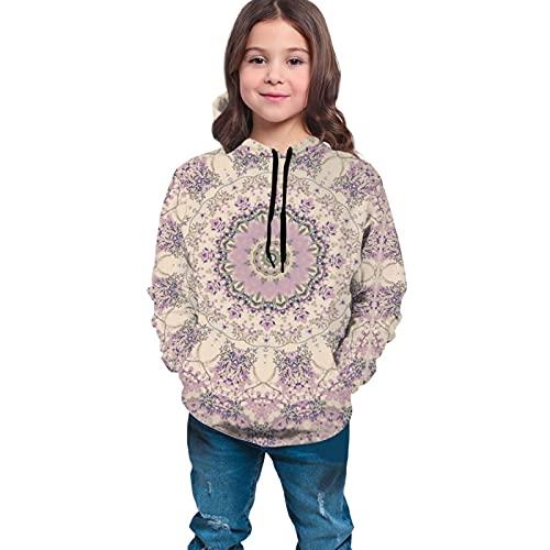 Sudaderas con capucha para niños/jóvenes, color crema y lavanda púrpura Mandala impresión 3d Unisex Pullover con capucha sudaderas para niños/niñas