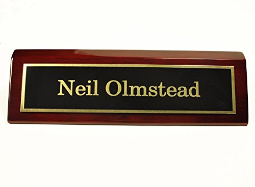 Rosewood Piano Finish Desk Name Plate 2 X 8 - Black Plate, Gold Engraving