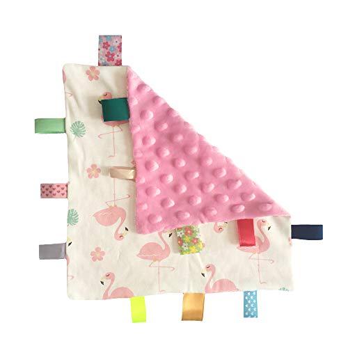 NO Crinkle Ton Baby-Tag Blanket Mädchen Bunte Taggy Sicherheitsdecke Aufbewahrungs Neugeborenes Kleinkinder reizende Katze-Muster-weiche Decke Taggy Spielzeug-Rosa