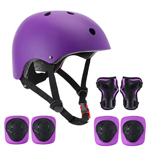 SZHZS Kids Bike Adjustable Helmet for Age 3-5-8 Years Old Boys Girls, Purple Toddler Protective Gear Set Knee Elbow Wrist Guards Pads Helmets for Children Cycling Roller Skating Scooter Skateboard