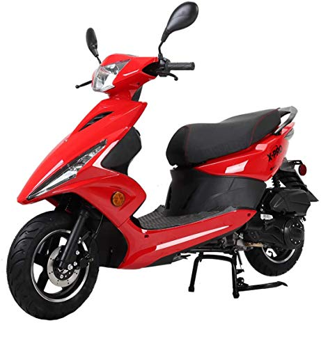 """X-PRO Bali Moped Scooter Street Scooter Gas Moped 150cc Adult Scooter Bike with 10"""" Aluminum Wheels! Fully Assembled in Crate! (Red)"""