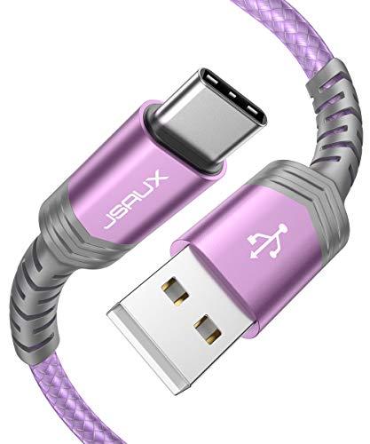 JSAUX USB C Kabel 2 Stuck 2M Nylon Typ C Ladekabel fur Samsung Galaxy S10 S9 S8 PlusNote 10 9 8A3 A5 2017LG G5 G6 V20HTC 10 U11Sony Xperia XZ Xa1 Huawei P30 P20 Mate 20 Lite P10 P9 usw Lila
