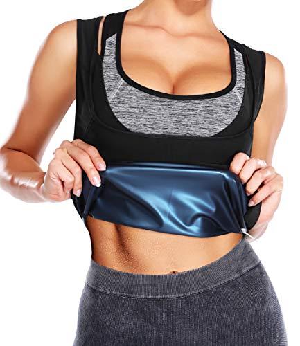 DUROFIT Chaleco Sauna Mujer para Fitness Adelgazantes Cinturón de Entrenamiento Sauna Camisetas Delgado Sauna Tank Top de Sudoración Negro L-XL