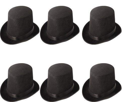 Quickdraw 6 x Black Tall Top Hat Hard Topper Adult Magician Victorian Ringmaster