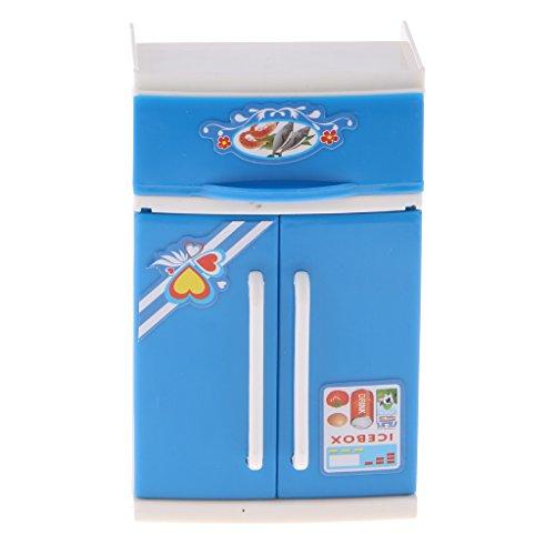 freneci Simulation Spielzeug Mini Home Appliances Blaue Plastikmodelle Zur Auswahl Der Immatronen Spiele Geschenk Jungenmädchen - Kühlschrank, 15x8,5x15cm