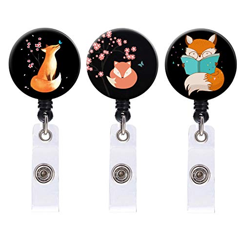 Badge Reel, 3 Pack Cute Unique Whimsical Fox Art Badge Reels Retractable with Alligator Clip, Name Decorative Badge Reel Clip on ID Card Holders for Girls Nurse, Students, Teachers, Office Lady