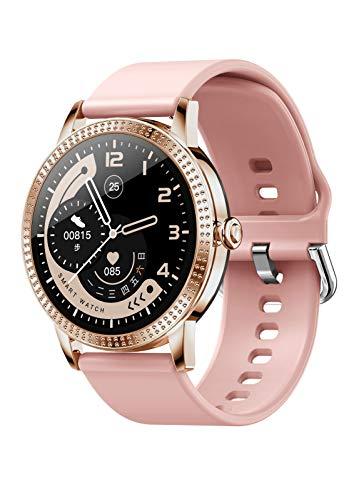 Smartwatch JINPXI, Reloj Inteligente para Mujeres, Rastreador de Ejercicios con Monitor de Frecuencia Cardíaca, Presión Arterial, Monitor de Sueño, Podómetro, Reloj Deportivo para Mujeres, Android iOS