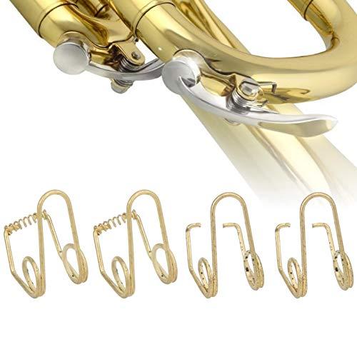 FOKH 20 Stück Edelstahl Gold Trompetenzubehör, CB10 B Flache Trompetenfedern, Studenten für die Reparatur der Trompete Ersetzen der Alten/kaputten Trompeter