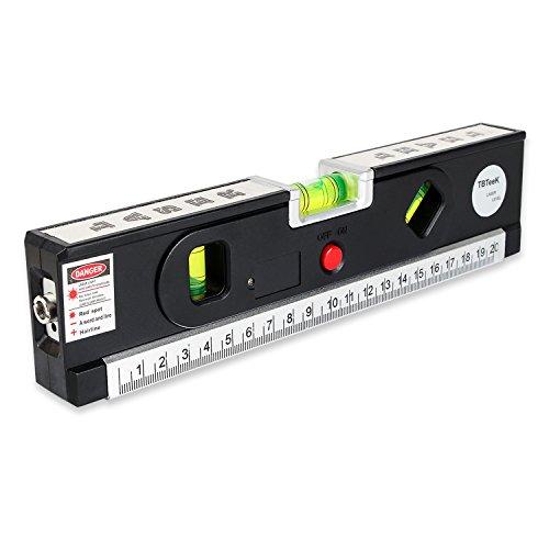 TBTeek Multipurpose Laser Level Tool,Laser Measuring Tape,Self-leveling Adjusted Laser Level Kit Standard and Metric Rulers 5ft/1.5M for Picture Hanging cabinets Tile Walls (Black)