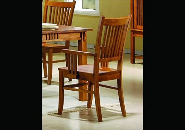 Coaster Home Furnishings 2 Solid Wood Brown Finish Mission Dining Arm Chairs