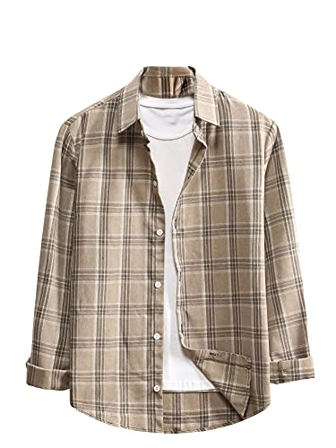 SOLY HUX Men's Plaid Long Sleeve Shirt Casual Button Down Top Khaki M