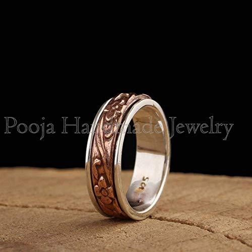 Anxiety Ring Thumb Ring Gemstone Ring Worry Ring Women Ring Spinner Band Garnet Ring Boho Ring Handmade Ring Statement Ring