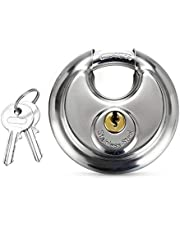 Hwtcjx schijfhangslot, 1 stuk ronde hangsloten, hangslot 70mm, hangslot voor buiten, voor buiten zwaar hangslot, met roestvrijstalen beugel, geheel koperen slotcilinder, voor buiten, poort (zilver)