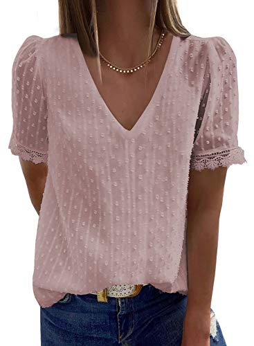 Elegancity Damen Bluse Spitzen Tunika V Ausschnitt Elegant Kurzärmel Spitzen Hemd Dame Blusen Oberteile Tops XL,Rosa