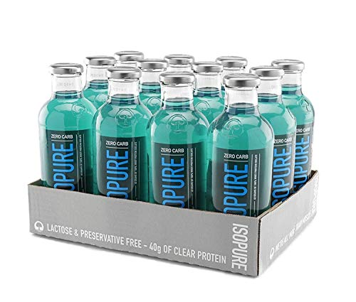 Isopure 40g Protein, Zero Carb Ready-To-Drink- Blue Raspberry, 20 Fl Oz (Pack of 12)